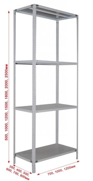 Стеллаж металлический сборный 244-2.0 купить на выгодных условиях в Красноярске